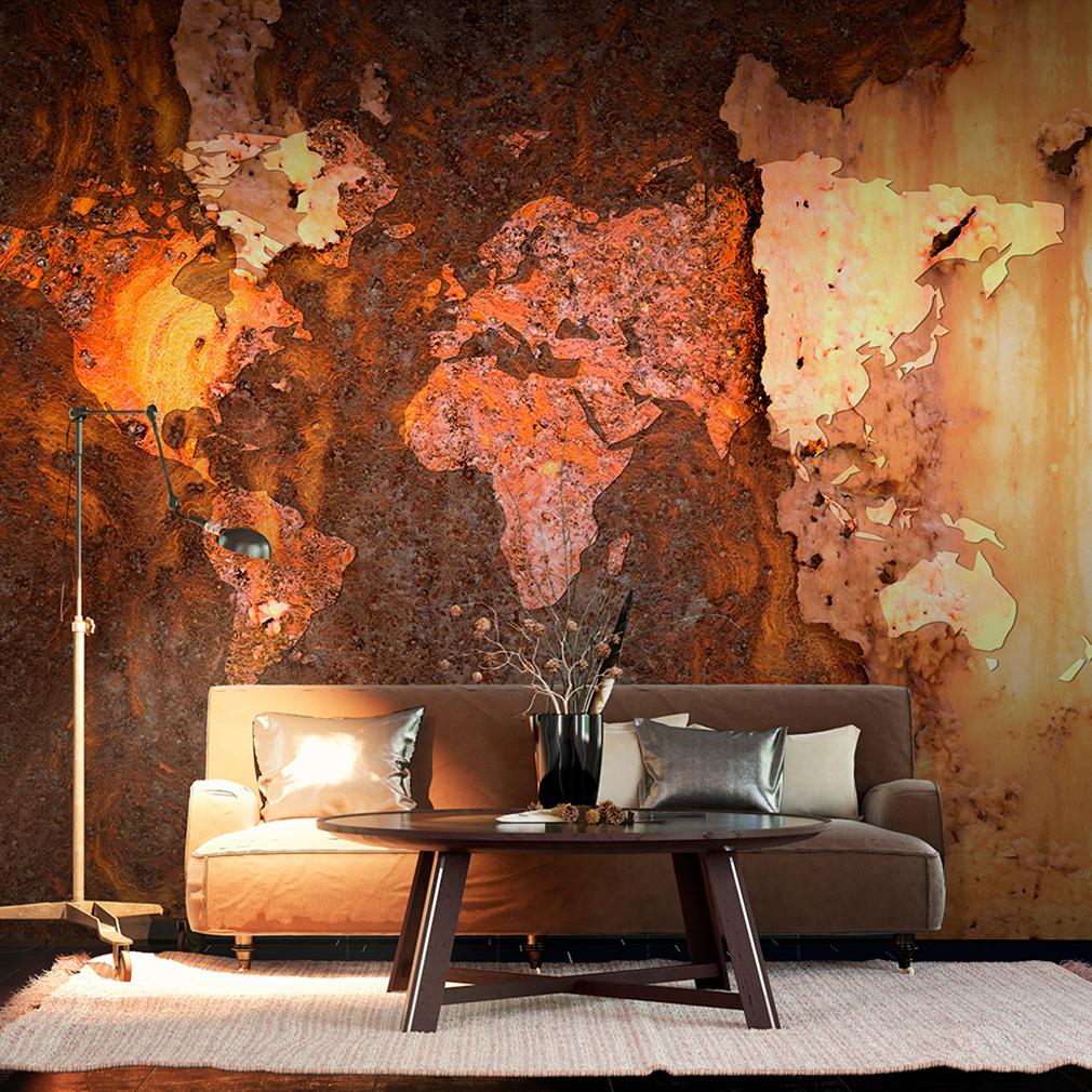 vlies fototapete weltkarte rost braun welt map wohnzimmer tapete wandbilder xxl ebay. Black Bedroom Furniture Sets. Home Design Ideas