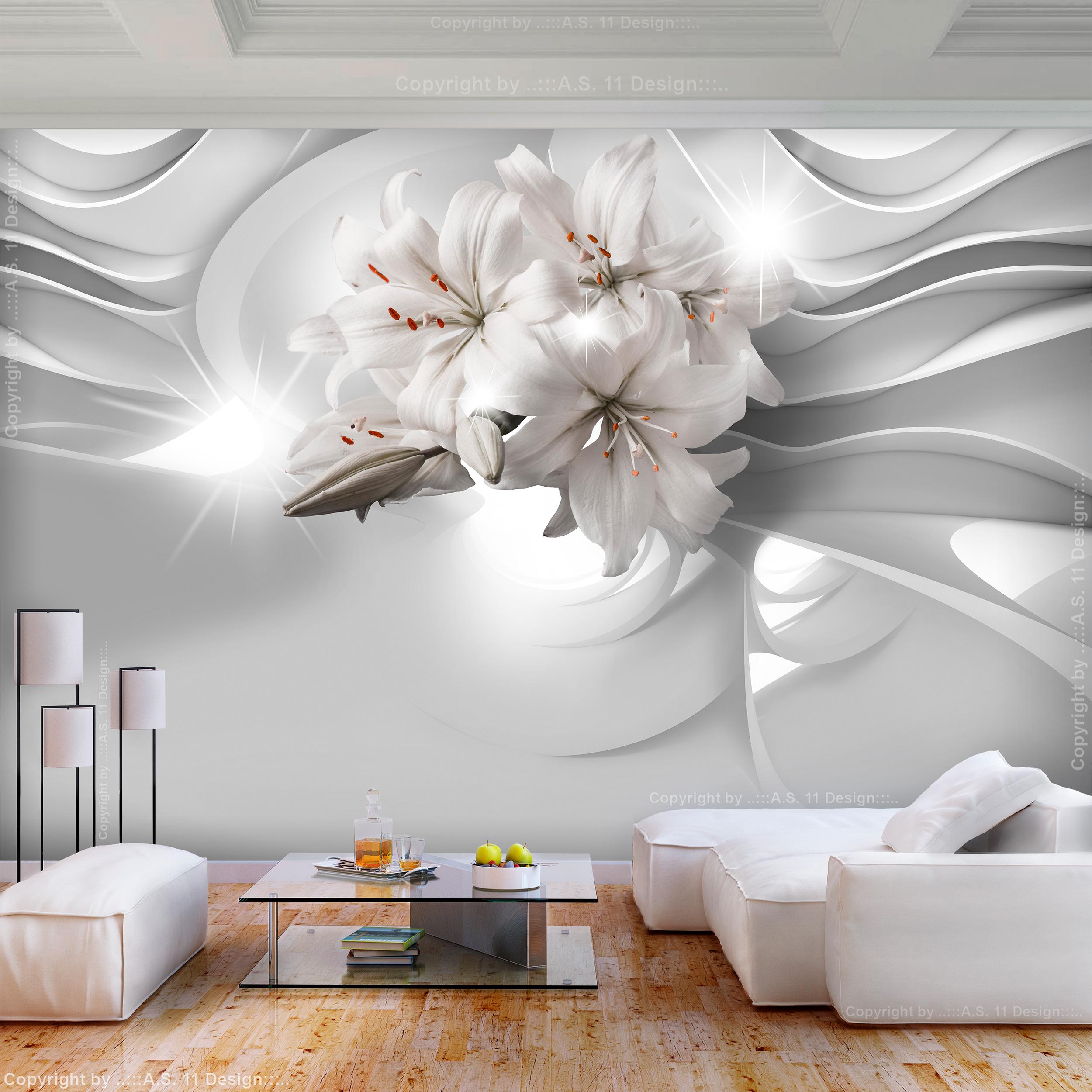 Vlies fototapete blumen lilie wei abstrakt diamant tapete wohnzimmer wandbilder ebay - Wandbilder wohnzimmer abstrakt ...