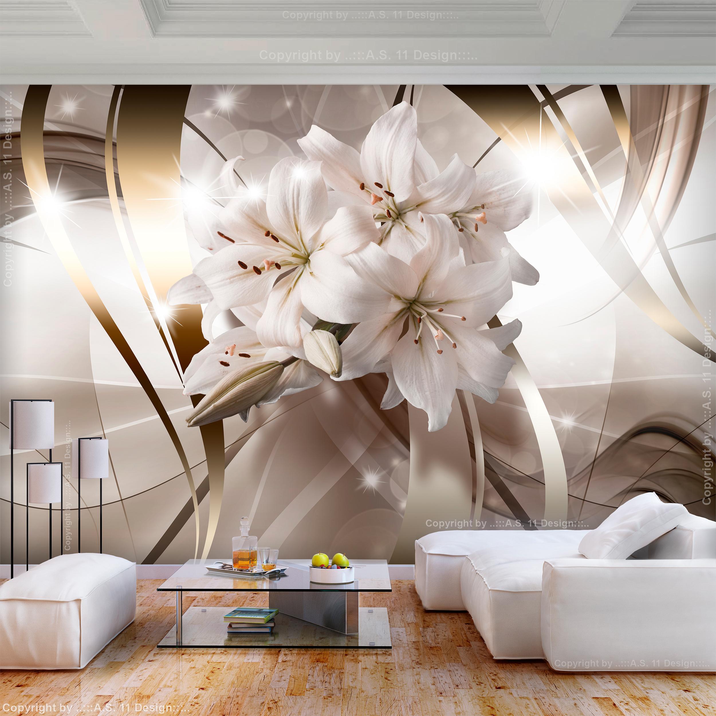 Details zu VLIES FOTOTAPETE Blumen Lilien weiß 3D effekt TAPETE WANDBILDER  XXL Wohnzimmer 7
