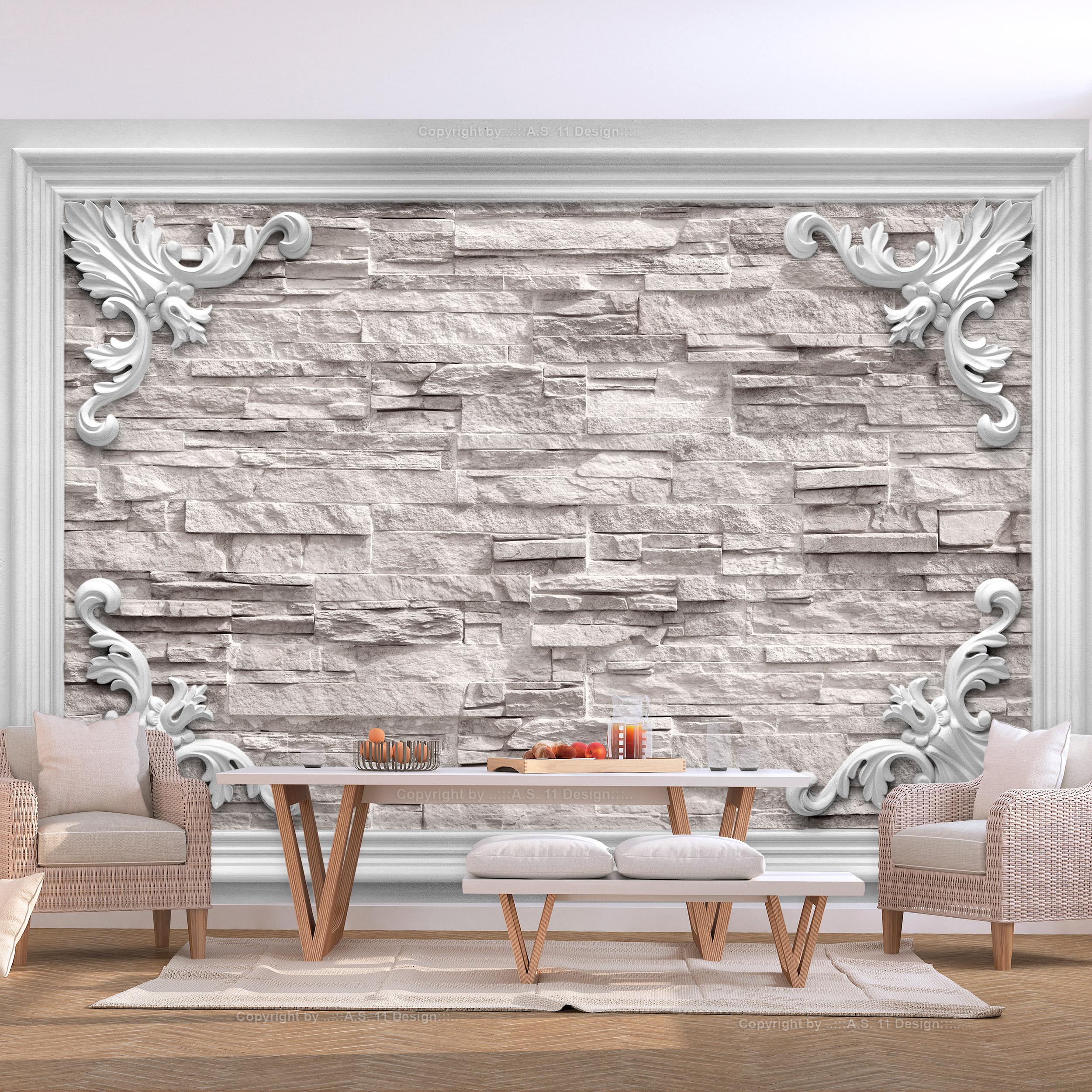 Vlies fototapete steinoptik steinwand 3d effekt tapete wandbilder xxl wohnzimmer ebay - 3d wandbilder wohnzimmer ...