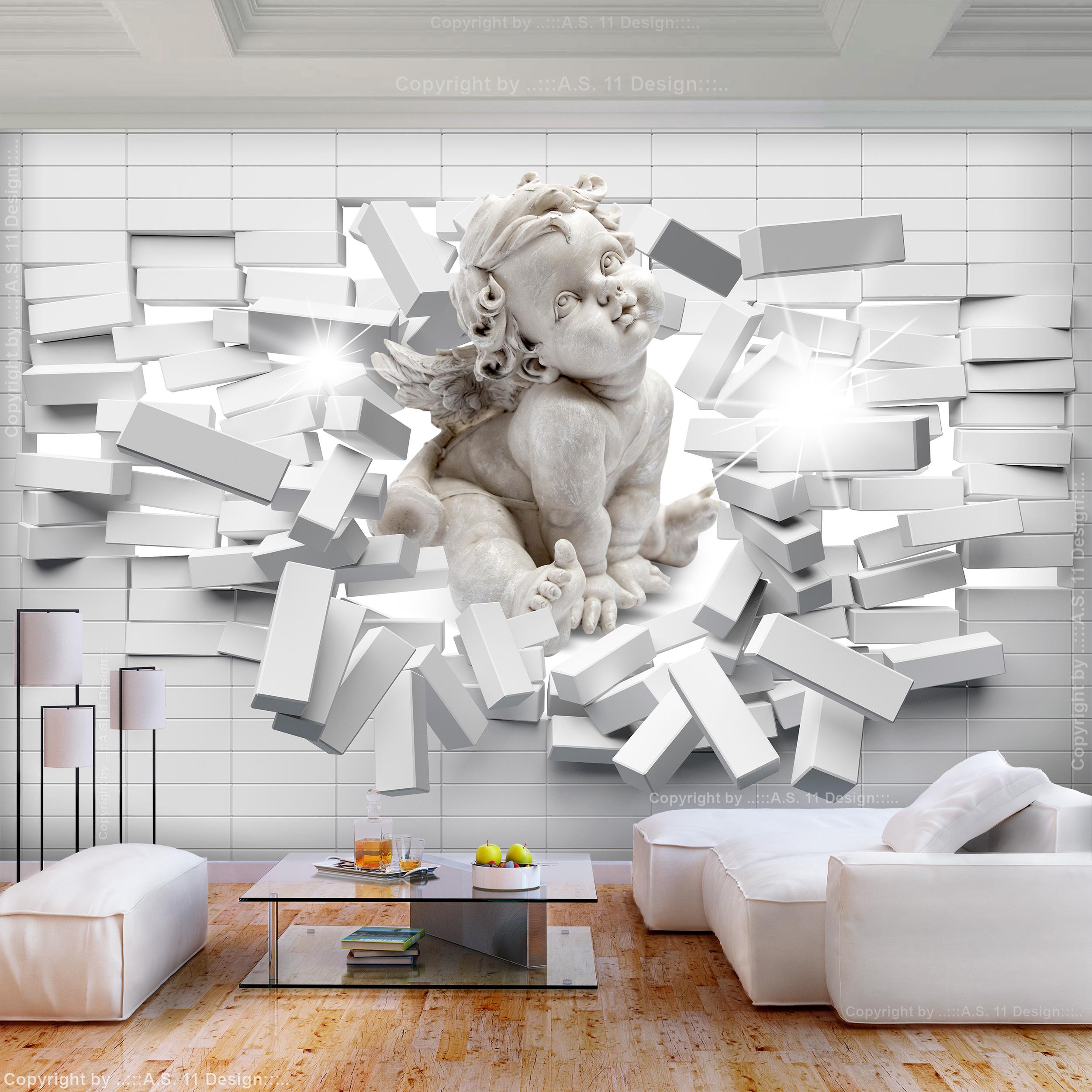 Vlies fototapete steinwand grau steine engel 3d tapete for Graue tapete wohnzimmer