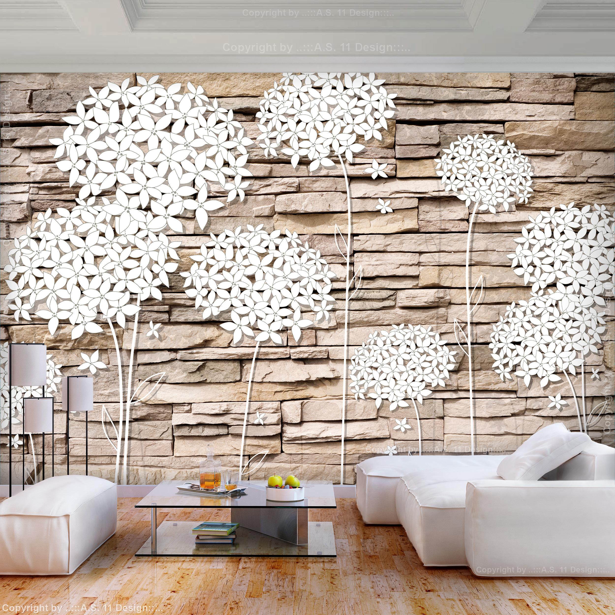 Vlies Fototapete Ziegelstein Blumen 3d Effekt Tapete Wandbilder Xxl