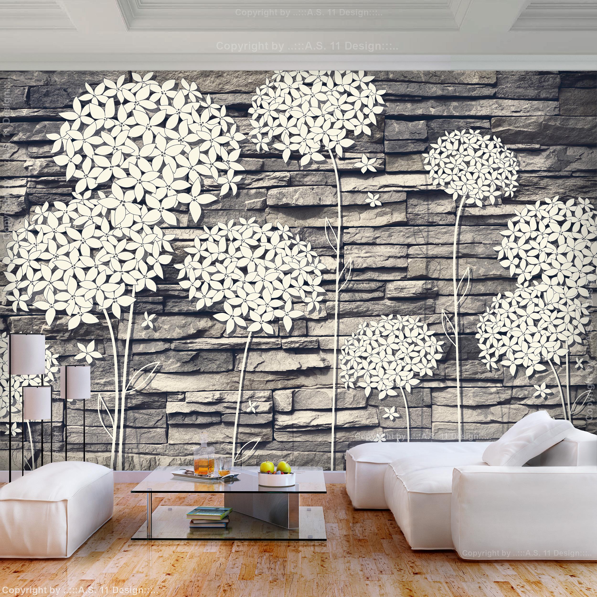 vlies fototapete ziegelstein blumen 3d effekt tapete wandbilder xxl wohnzimmer ebay. Black Bedroom Furniture Sets. Home Design Ideas