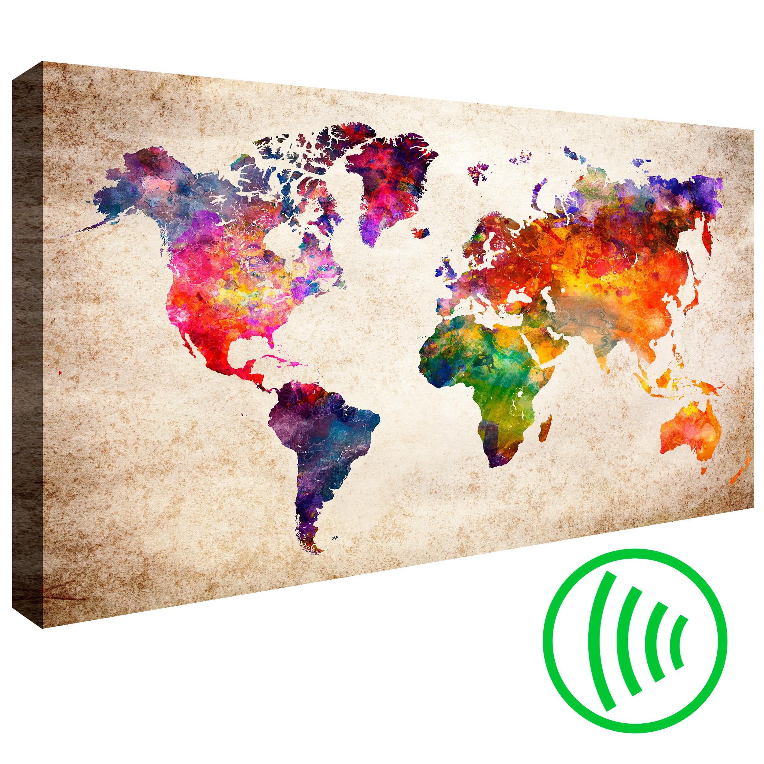 LEINWAND BILDER Weltkarte Aquarell Landkarte Akustikbild WANDBILDER kunstdruck