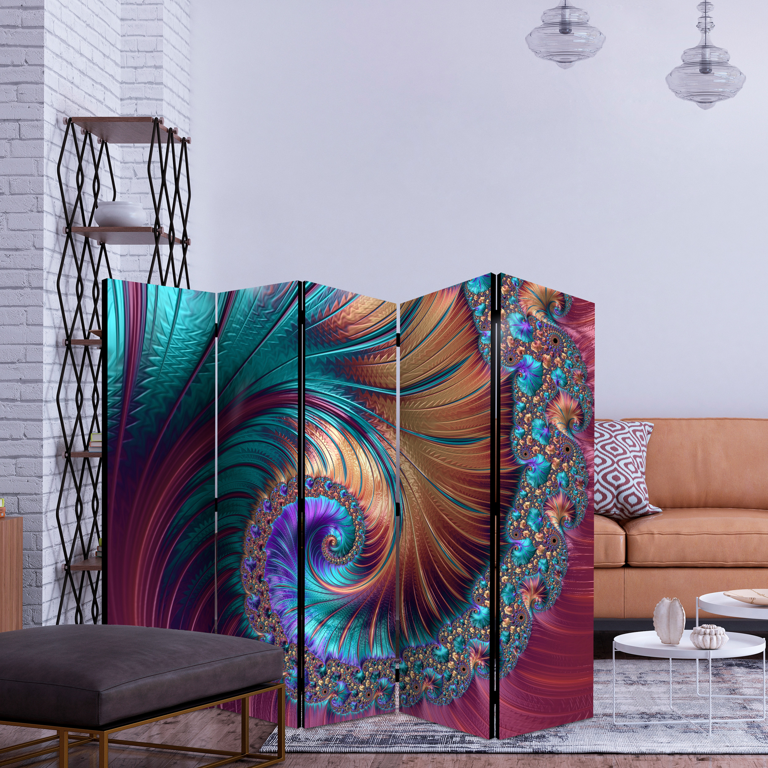 TRENNWAND Spanische PARAVENT RAUMTEILER Wand FOTO 3D Optik Bunt Design 5 Motiv