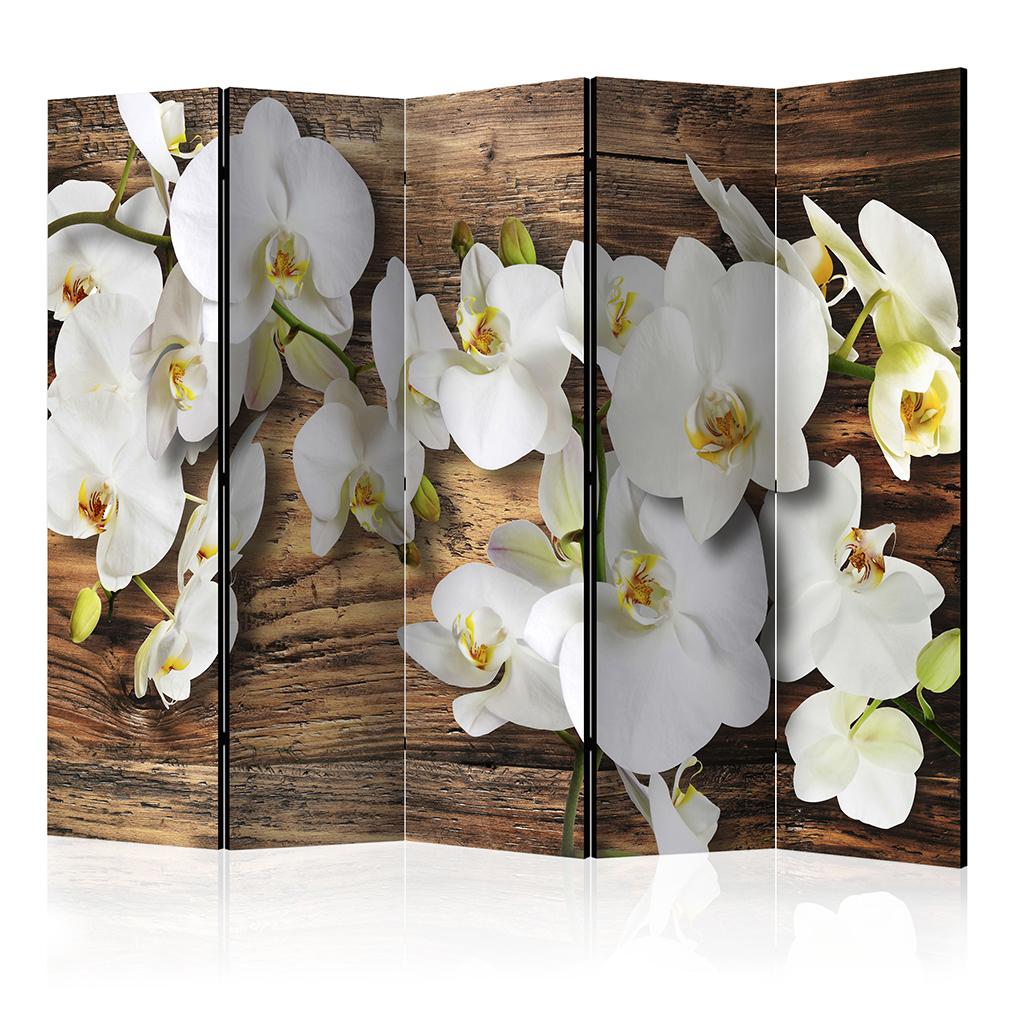 Deko paravent raumteiler trennwand foto blumen orchidee silber gold 2 format xxl ebay - Deko raumteiler ...