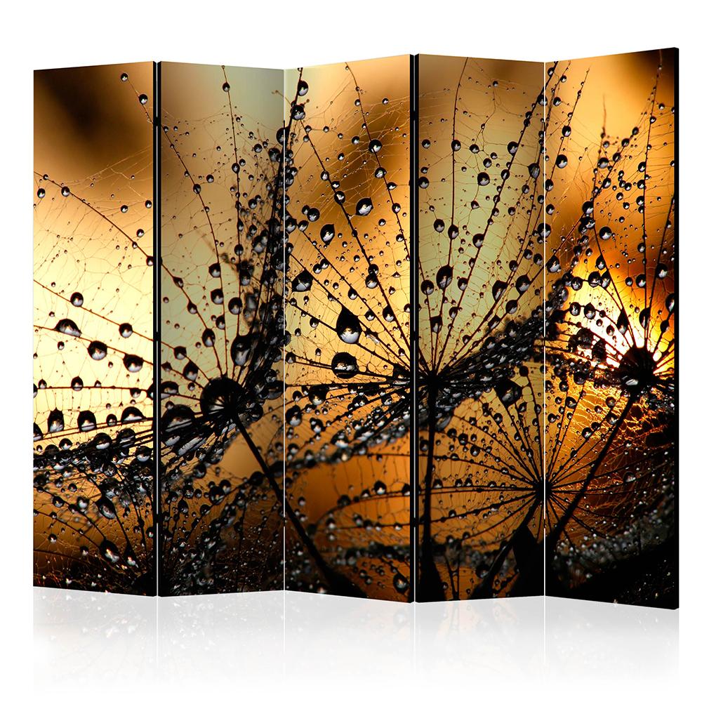Deko paravent raumteiler trennwand foto pusteblumen blumen for Deko wohnzimmer gold silber
