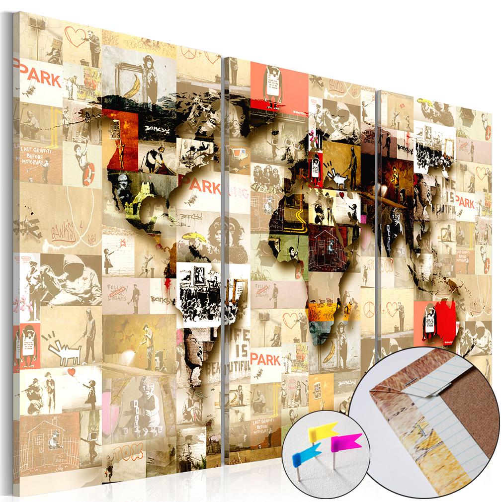 leinwand bilder xxl bild weltkarte map pinnwand. Black Bedroom Furniture Sets. Home Design Ideas