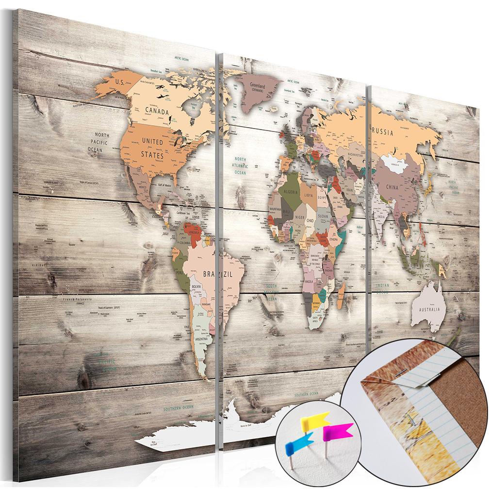 bilder weltkarte pinnwand holzfaserplatte landkarte leinwand wandbilder braun ebay. Black Bedroom Furniture Sets. Home Design Ideas