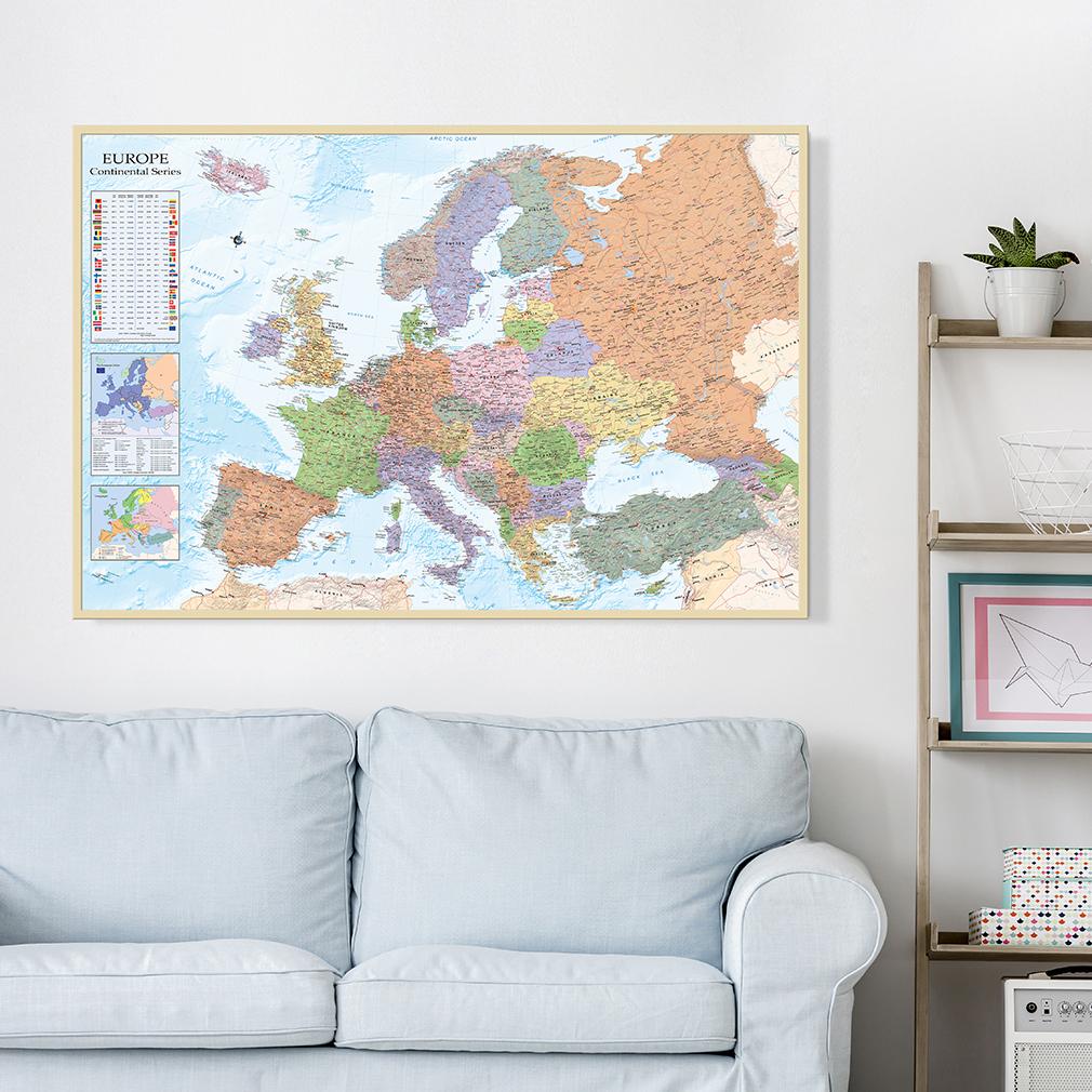 bild weltkarte pinnwand politische english holzfaserplatte wandbild mit rahmen ebay. Black Bedroom Furniture Sets. Home Design Ideas