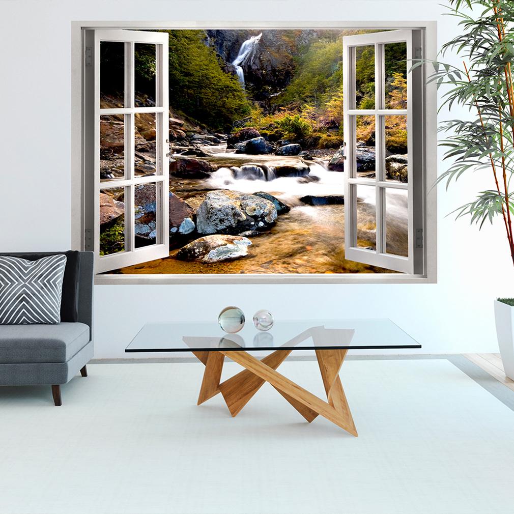 wandsticker 3d fensterblick wandbild wandillusion fototapete wald natur strand ebay. Black Bedroom Furniture Sets. Home Design Ideas