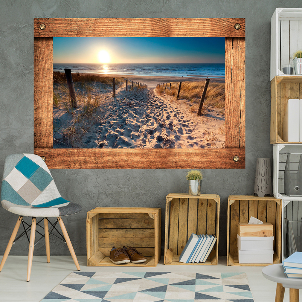 wandsticker 3d fensterblick wandbilder xxl wandillusion fototapete natur strand ebay. Black Bedroom Furniture Sets. Home Design Ideas