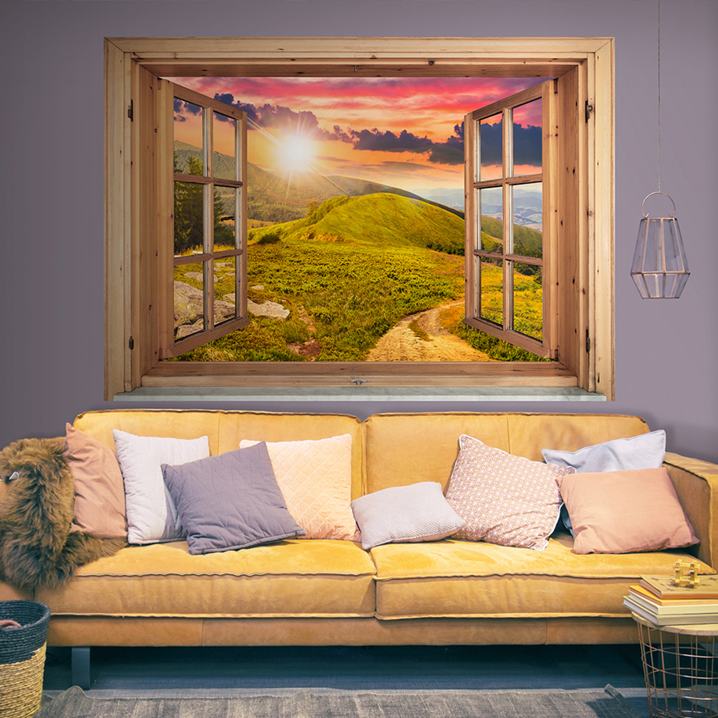 wandsticker 3d fensterblick wald natur strand wandbild wandillusion ausblick 10f ebay. Black Bedroom Furniture Sets. Home Design Ideas