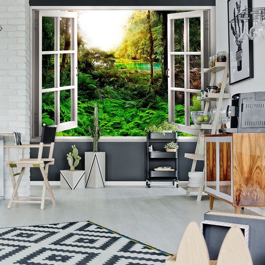 wandsticker 3d fensterblick wandbild wandillusion fototapete wald natur strand ebay. Black Bedroom Furniture Sets. Home Design Ideas