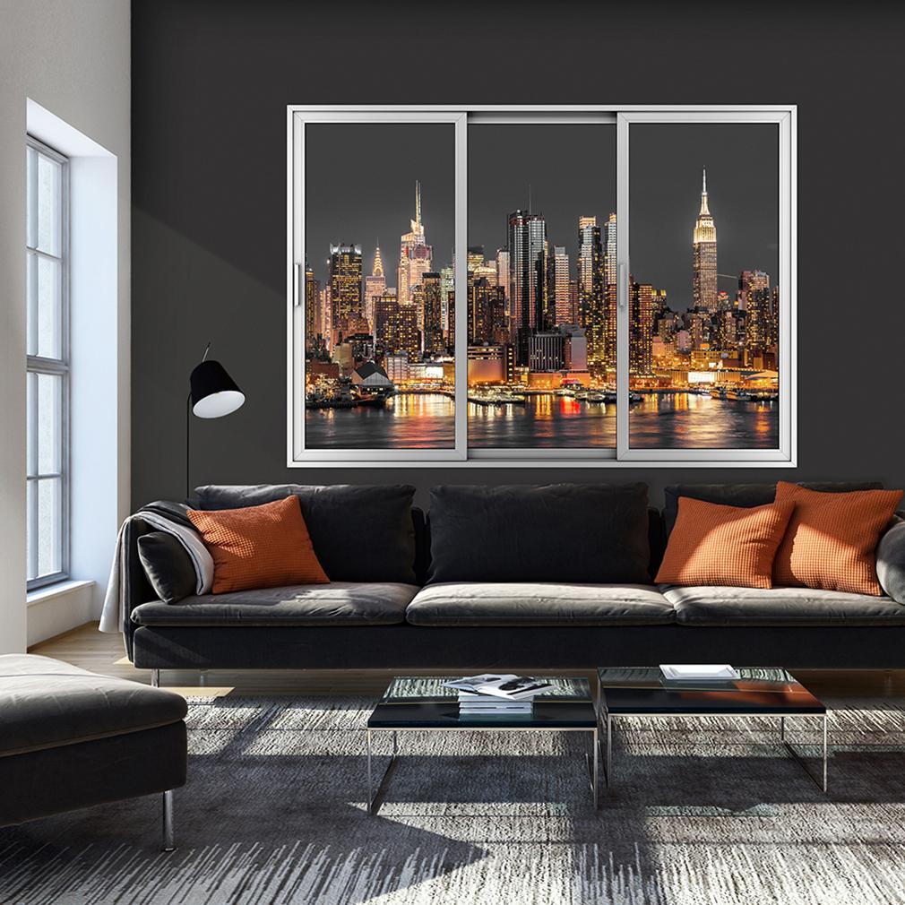 wandsticker 3d fensterblick skyline new york wandillusion strand wandbilder xxl ebay. Black Bedroom Furniture Sets. Home Design Ideas
